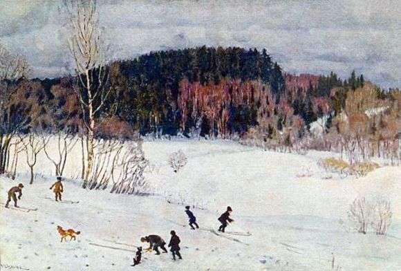 Описание картины Константина Юона «Пейзаж с лыжниками»