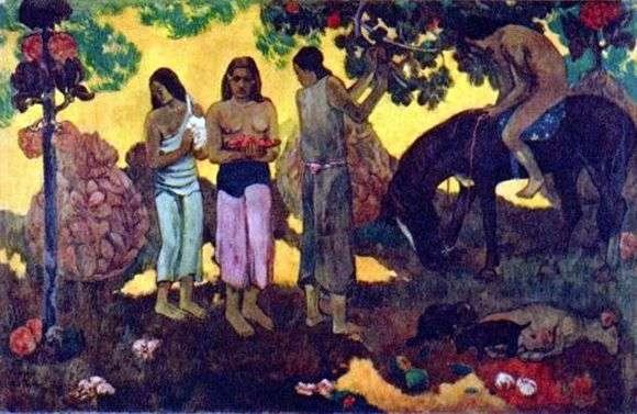 Описание картины Поля Гогена «Сбор плодов»