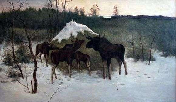 Описание картины Алексея Степанова «Лоси»