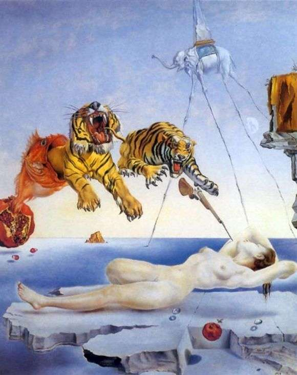 Описание картины Сальвадора Дали «Сон, вызванный полетом пчелы вокруг граната»