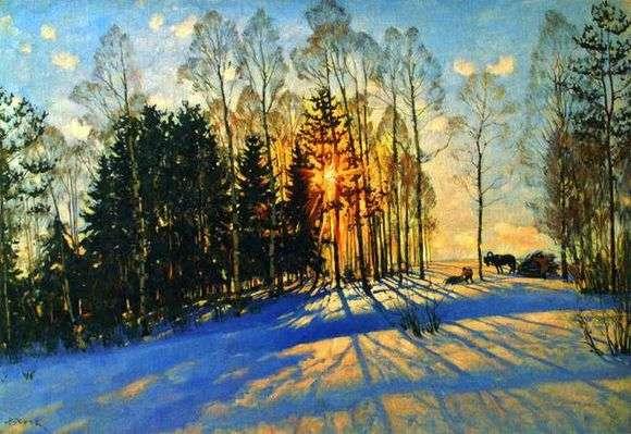 Описание картины Константина Юона «Зимнее солнце»