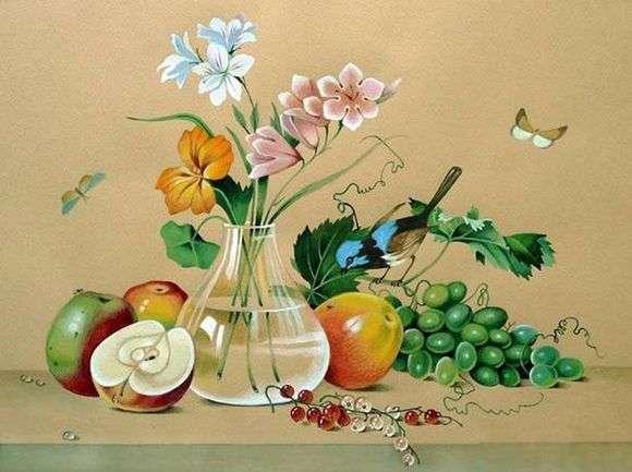 Описание картины Федора Толстого «Цветы, фрукты, птица»