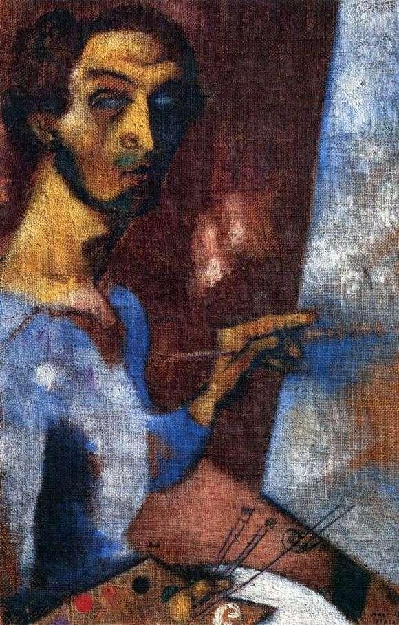 Описание картины Марка Шагала «Автопортрет с мольбертом»