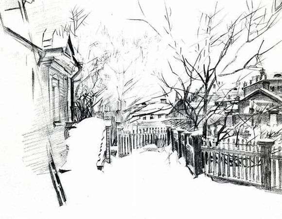 Описание картины Михаила Врубеля «Дворик зимой»