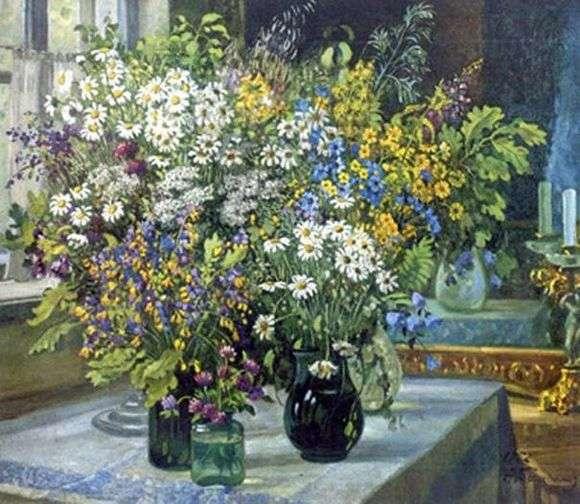 Описание картины Александра Герасимова «Натюрморт. Полевые цветы»