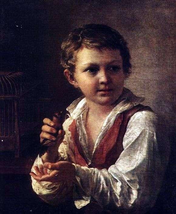 Описание картины Василия Тропинина «Мальчик со щеглом»