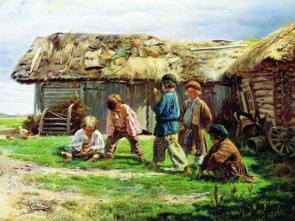 Описание картины Владимира Маковского «Игра в бабки»
