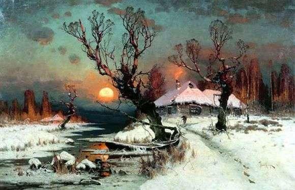 Описание картины Юлия Клевера «Закат солнца зимой»