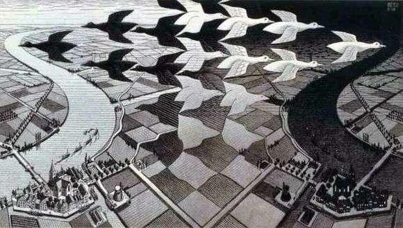 Описание картины Маурица Эшера «День и ночь»