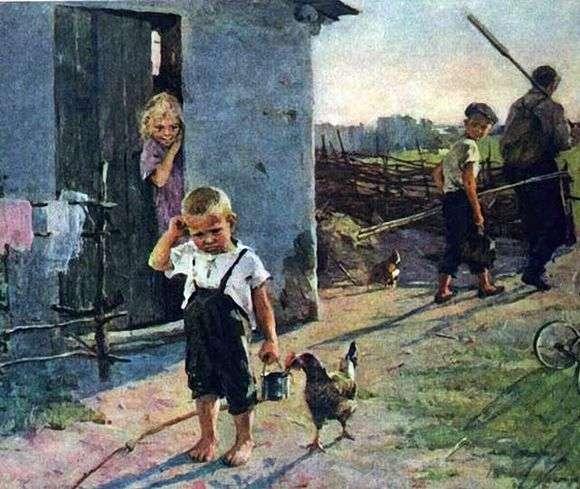Описание картины Олега Поповича «Не взяли на рыбалку»