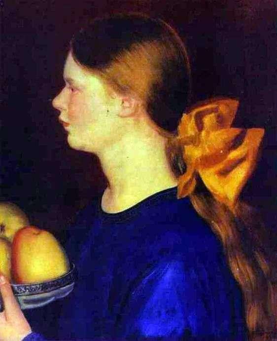 Описание картины Бориса Кустодиева «Девушка с яблоками Ирина Кустодиева»