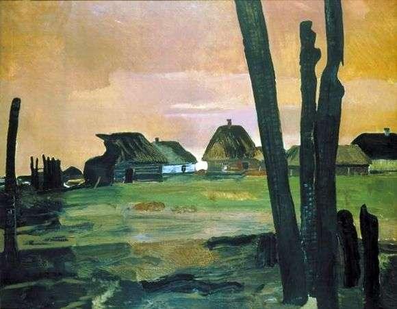 Описание картины Александра Дейнека «Сгоревшая деревня»