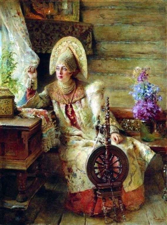 Описание картины Константина Маковского «Боярышня у окна»