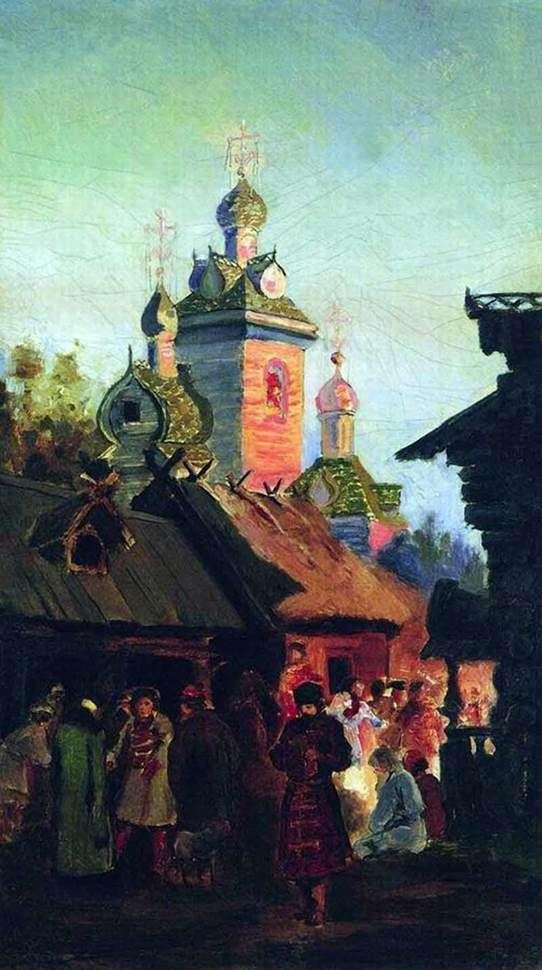 Описание картины Андрея Рябушкина «Улица старой Москвы»