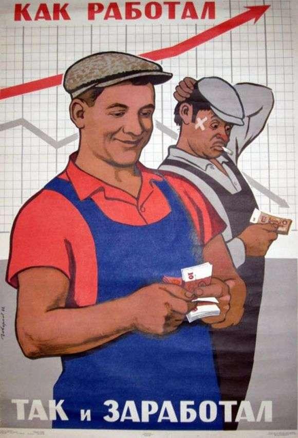 Описание советского плаката «Как работал, так и заработал»