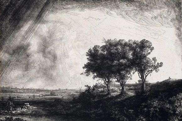 Описание картины Рембрандта «Три дерева»