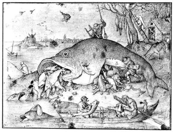 Описание картины Питера Брейгеля «Большие рыбы поедают малых»