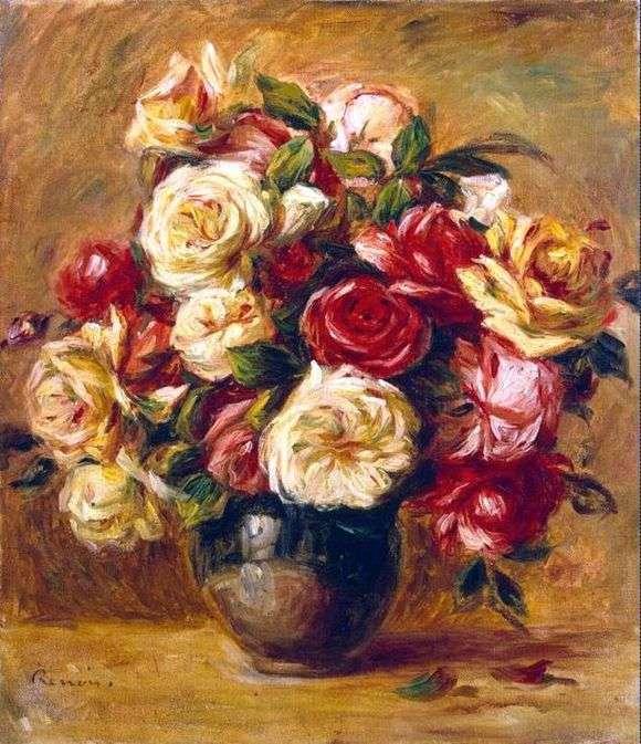 Описание картины Пьера Огюста Ренуара «Букет роз»