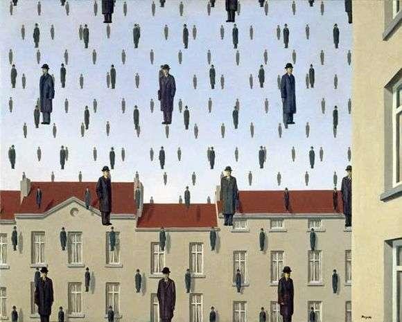 Описание картины Рене Магритт «Голконда»
