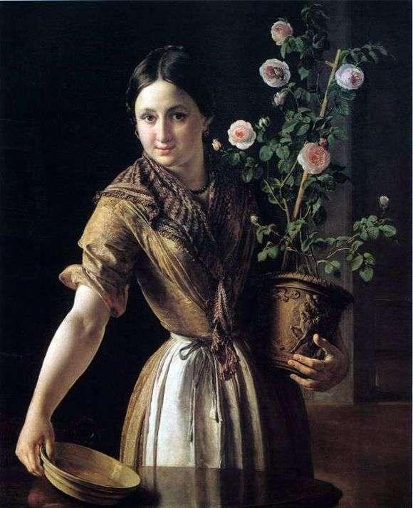 Описание картины Василия Тропинина «Девушка с горшком роз»