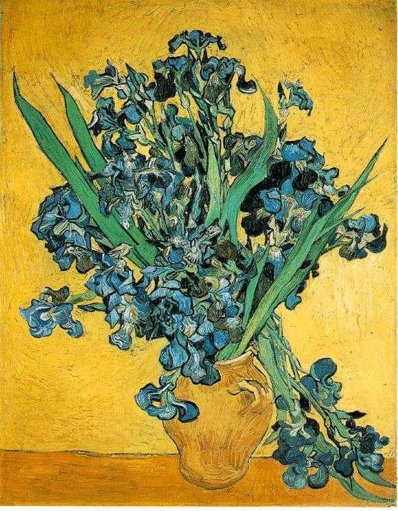 Описание картины Винсента Ван Гога «Натюрморт ваза с ирисами на желтом фоне»