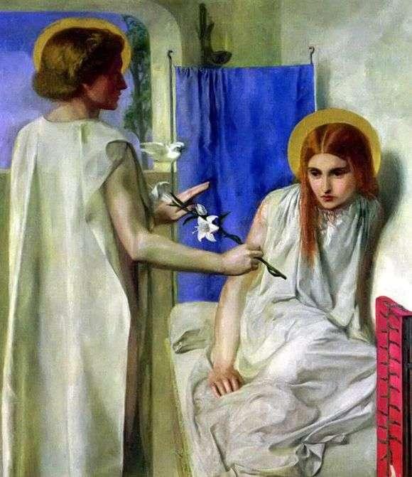 Описание картины Данте Россетти «Благовещение»