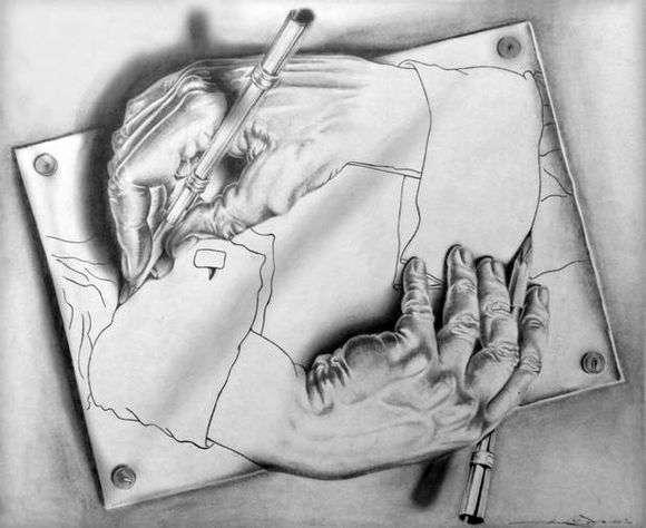Описание картины Маурица Эшера «Рисующие руки»