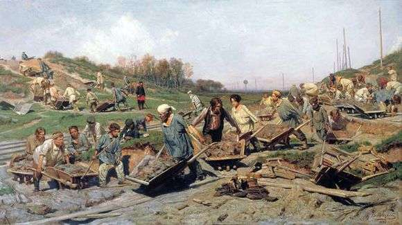 Описание картины Константина Савицкого «Ремонтные работы на железной дороге»