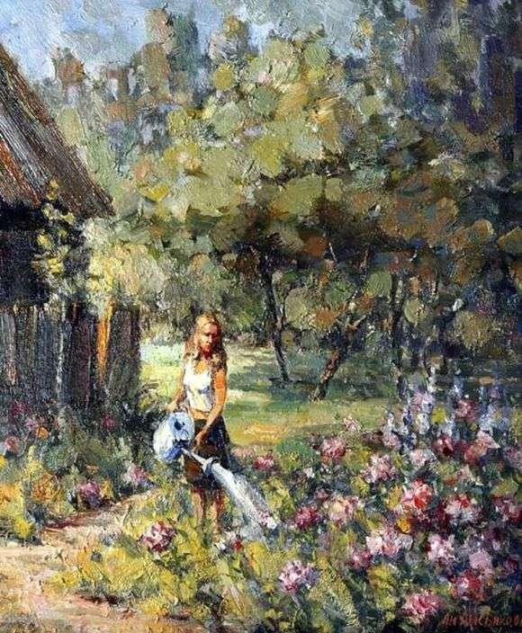 Описание картины Андрея Лысенко «Девочка с лейкой»