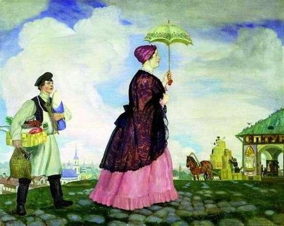 Описание картины Бориса Кустодиева «Купчиха с покупками»