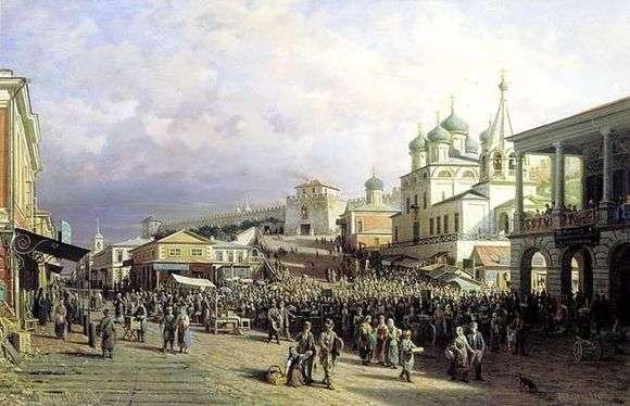Описание картины Петра Верещагина «Рынок в Нижнем Новгороде»