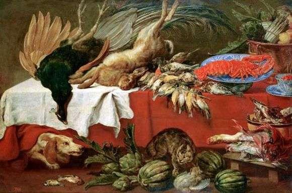 Описание картины Франца Снейдерса «Натюрморт с битой дичью и омаром»