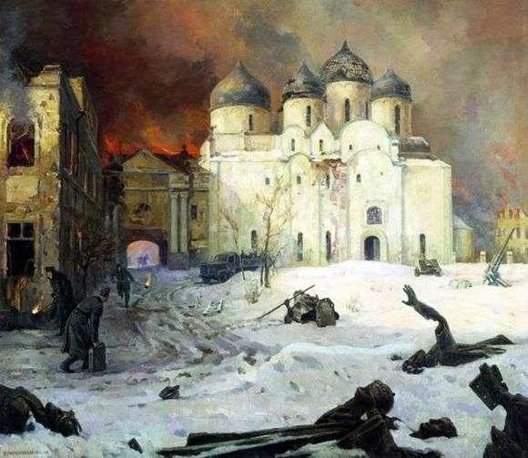 Описание картины Кукрыниксы «Бегство фашистов из Новгорода»