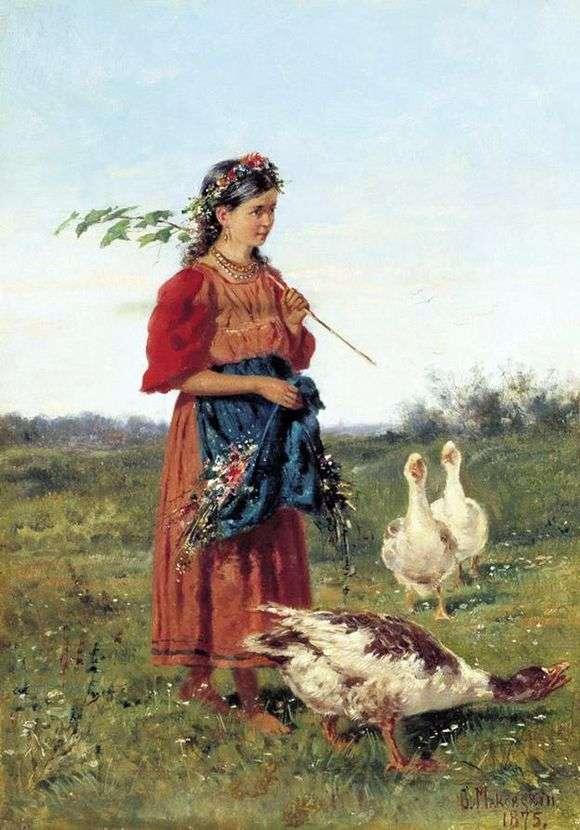 Описание картины Владимира Маковского «Девочка с гусями в поле»