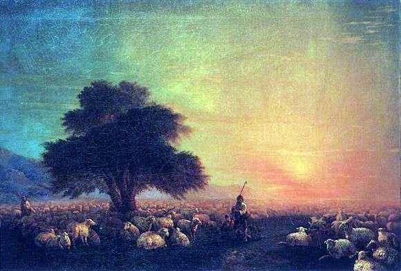 Описание картины Ивана Айвазовского «Овцы на пастбище» (Отара овец)