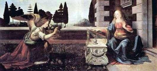 Описание картины Леонардо да Винчи «Благовещение»