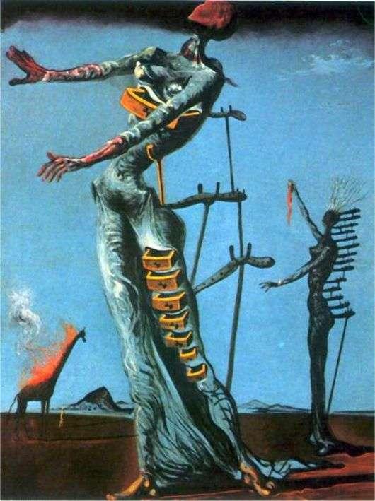 Описание картины Сальвадора Дали «Жираф в огне»