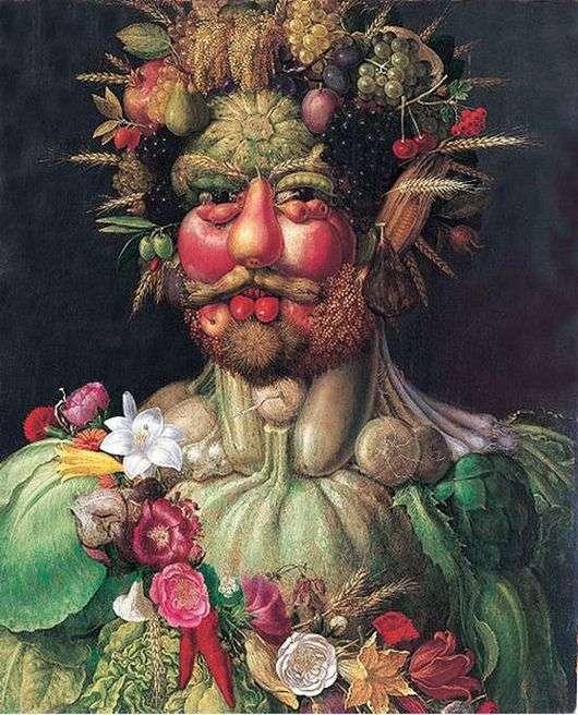Описание картины Джузеппе Арчимбольдо «Портрет императора Рудольфа II в образе Вертумна»