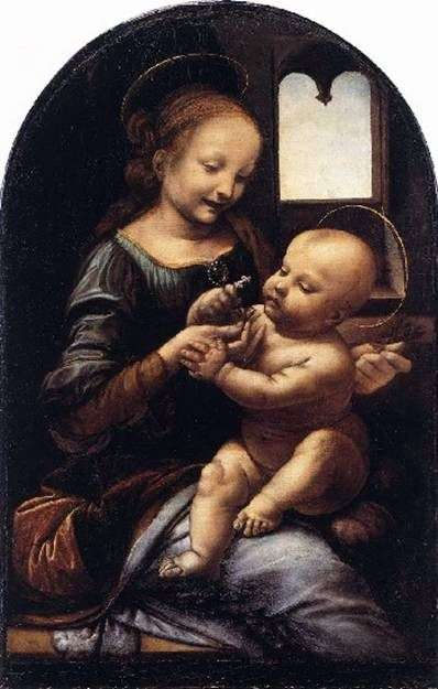 Описание картины Леонардо да Винчи Мадонна с цветком (Мадонна Бенуа)