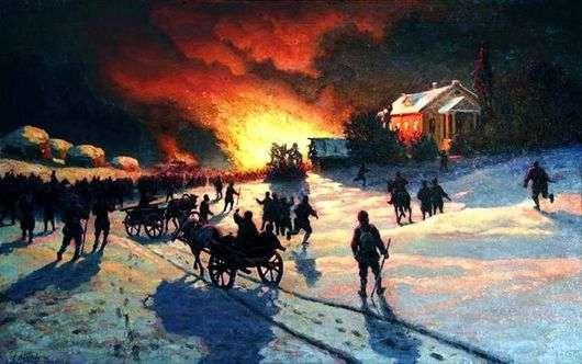 Описание картины Ефима Волкова «Пожар»