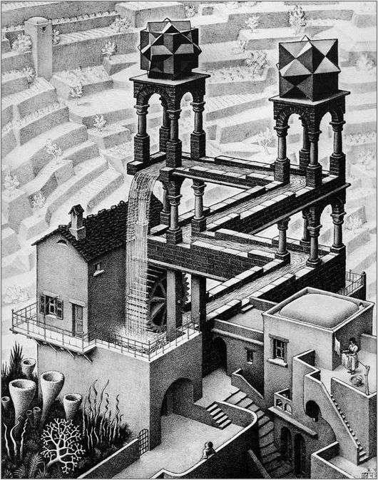 Описание картины Маурица Эшера «Водопад»