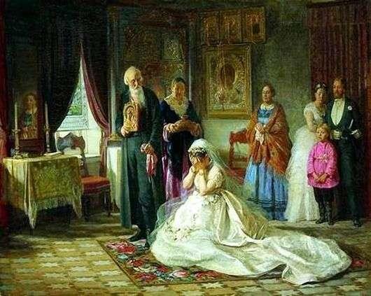 Описание картины Фирса Журавлева «Перед венцом»