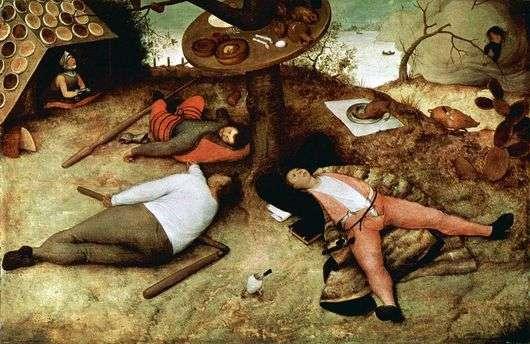 Описание картины Питера Брейгеля «Страна лентяев»