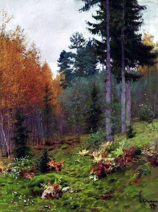 Описание картины Исаака Левитана «В лесу осенью»