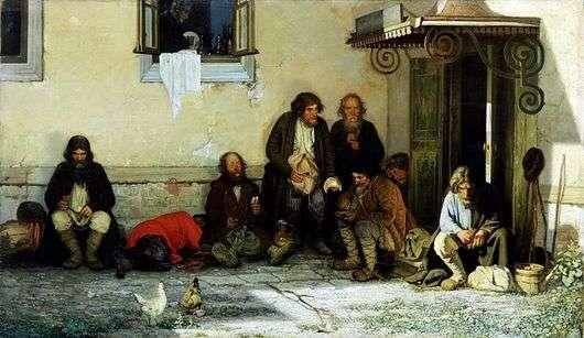 Описание картины Григория Мясоедова «Земство обедает»