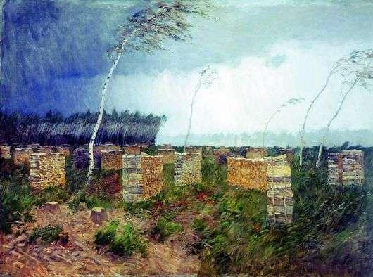 Описание картины Исаака Левитана «Буря. Дождь»