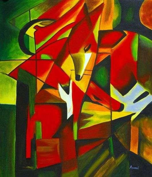 Описание картины Франца Марка «Лисы»