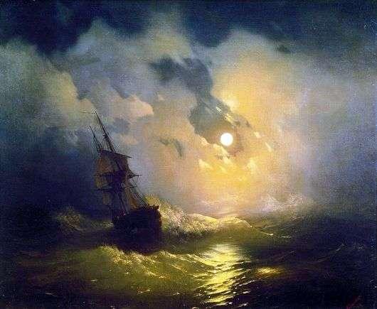 Описание картины Ивана Айвазовского «Буря на море ночью»