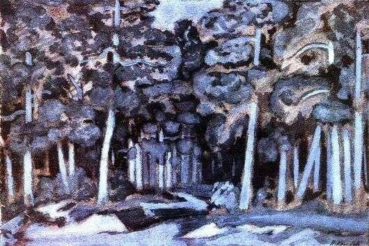 Описание картины Николая Крымова «Лунная ночь в лесу»