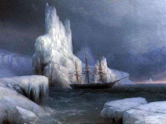 Описание картины Ивана Айвазовского «Ледяные горы в Антарктиде»
